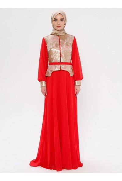 Mileny Kadın Payetli Abiye Elbise Mercan