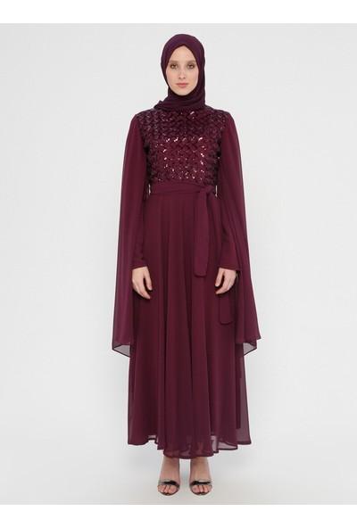 Bürün Kadın Payetli Abiye Elbise Mürdüm