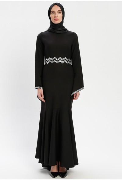 Bürün Kadın Payetli Abiye Elbise Siyah