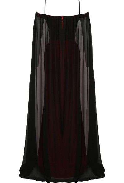 Mileny Kadın Pelerinli Abiye Elbise Kırmızı