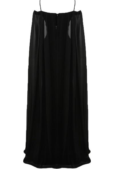 Mileny Kadın Pelerinli Abiye Elbise Lila