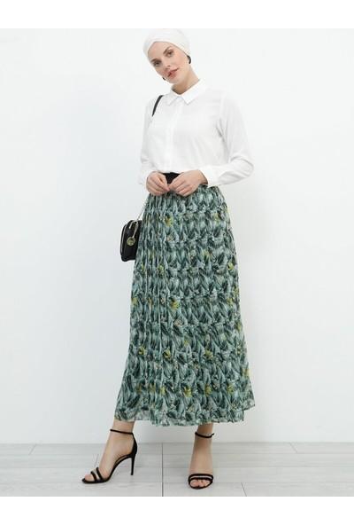 Refka Kadın Piliseli Şifon Etek Yeşil