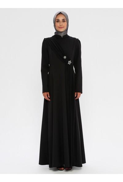 Bürün Kadın Şifon Detaylı Elbise Siyah