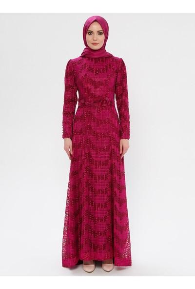 Mileny Kadın Simli Abiye Elbise Fuşya