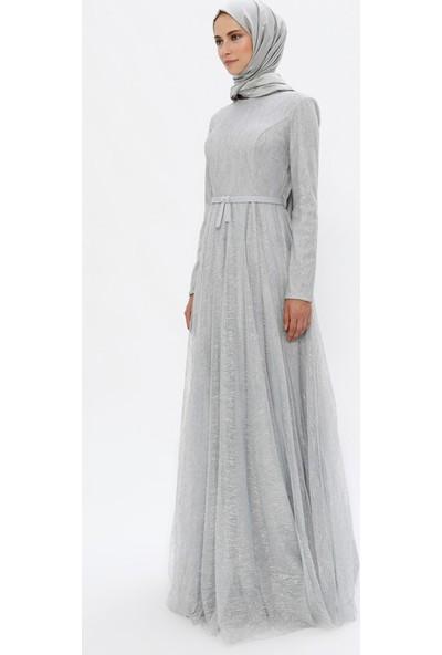 Mileny Kadın Simli Abiye Elbise Gri