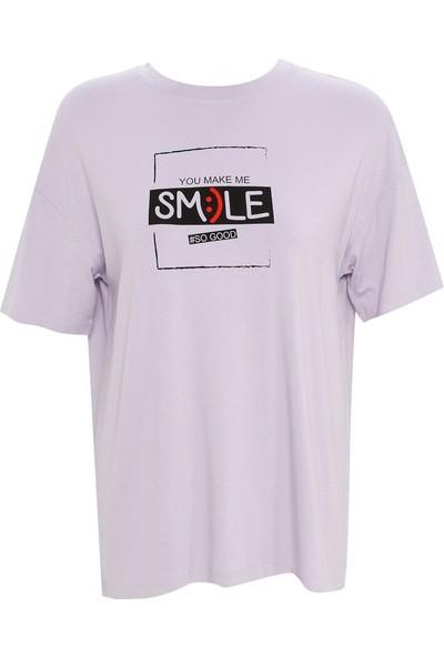 Meys Kadın Smile Tişört Lila