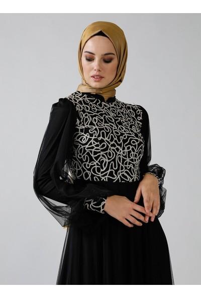 Refka Kadın Tüllü Abiye Elbise Siyah