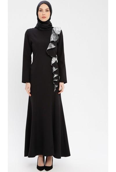Bürün Kadın Volan Detaylı Abiye Elbise Siyah