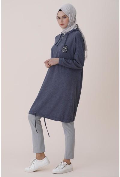 Sitare Armalı Kapşonlu Penye Kadın Tunik 7017