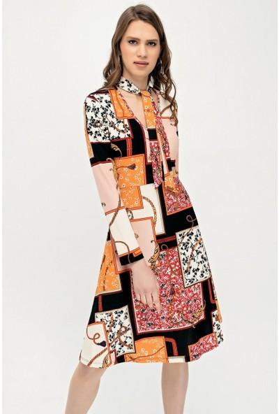 Deppoist Zebra Desen Flarlı Kadın Elbise