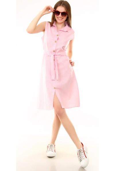 Deppoist Pembe Ön Düğmeli Kolsuz Kadın Elbise