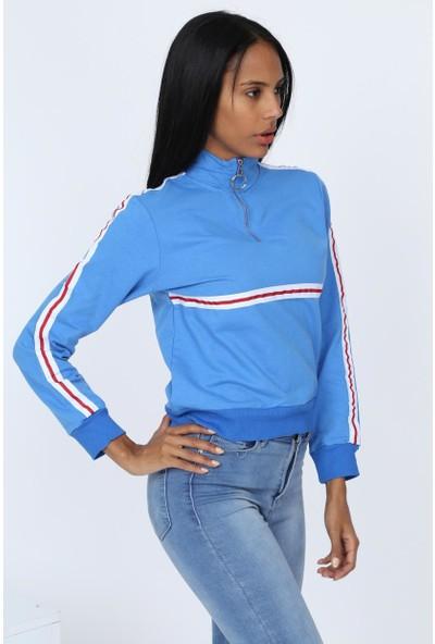 Deppoist Fermuarlı Şeritli Kadın Sweatshirt