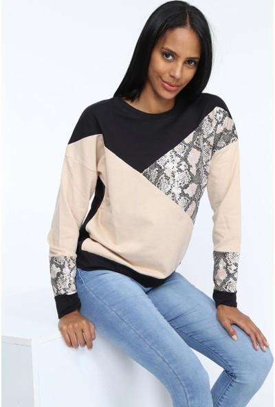 Deppoist Garnili Yılan Desen Kadın Sweatshirt