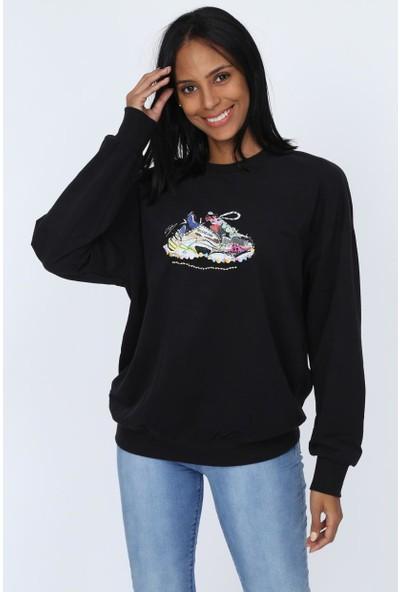 Deppoist İşlemeli Kadın Sweatshirt