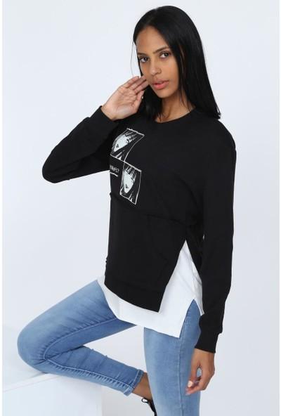 Deppoist Çift Resim Baskılı Kadın Sweatshirt
