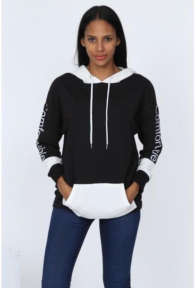 Deppoist Kol Baskılı Kanguru Cep Kadın Sweatshirt