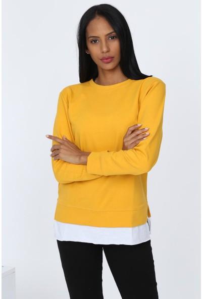 Deppoist Beyaz Garnili Kadın Sweatshirt