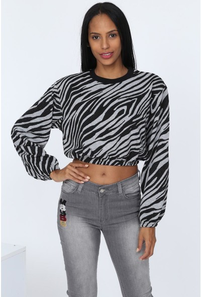 Deppoist Zebra Desen Kadın Sweatshirt