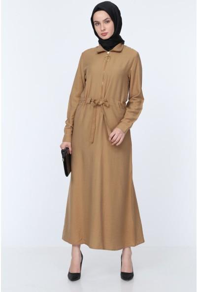 Deppoist Yaka Fermuarlı Büzgülü Kadın Elbise