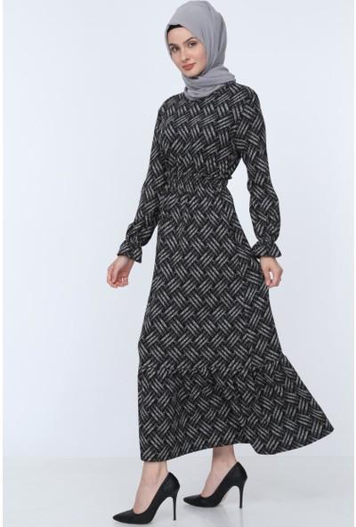 Deppoist Bel Fırfırlı Uzun Kadın Elbise