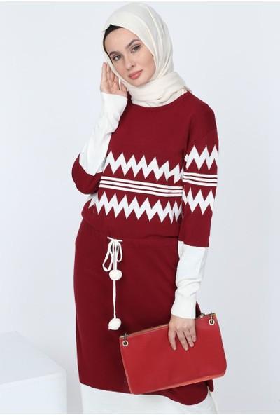 Deppoist Desenli Triko Kadın Elbise