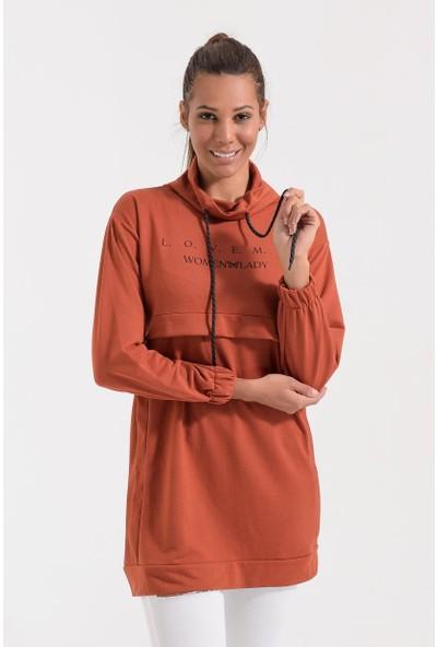 Deppoist Baskılı Boğazlı Kadın Sweatshirt