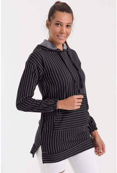 Deppoist Kapşonlu Çizgili Kadın Sweatshirt