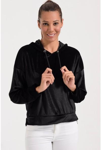 Deppoist Kadife Kapşonlu Kadın Sweatshirt