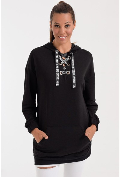 Deppoist Göğüs Bağcıklı Kadın Sweatshirt