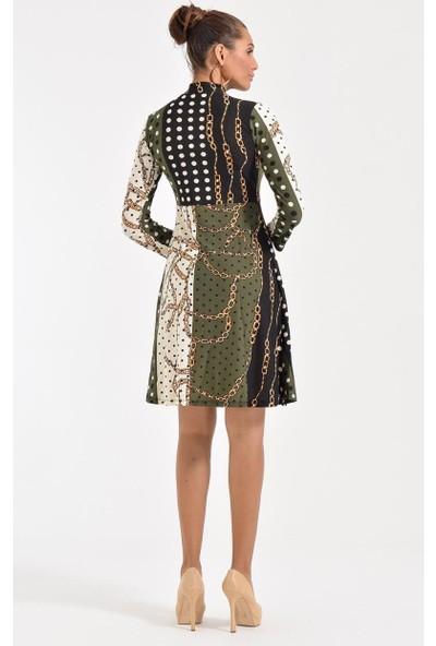Deppoist Flarlı Zincir Desen Kadın Elbise