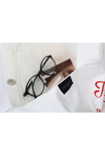 Baagistanbul Tasarım Beyaz Jean Baskılı Çanta