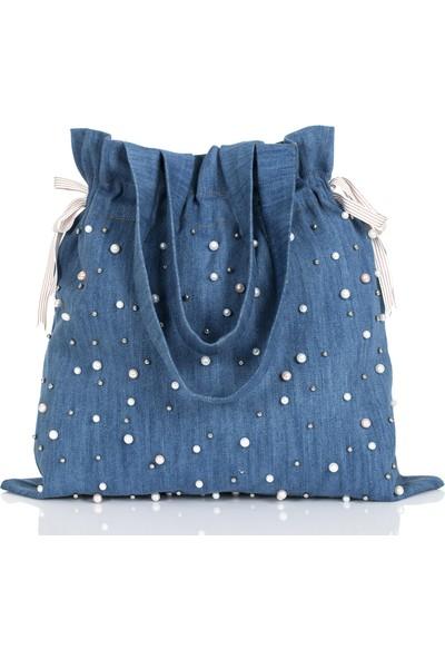 Baagistanbul Tasarım Mavi Jean Inci Detaylı Torba Çanta