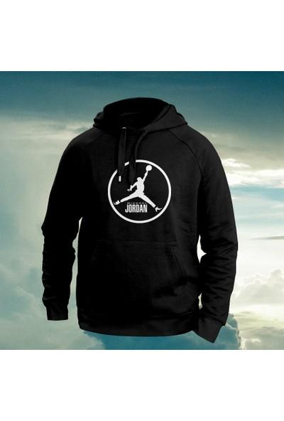 Vectorwear Air Jordan Baskılı Siyah Nba Kapüşonlu Unisex Sweatshirt
