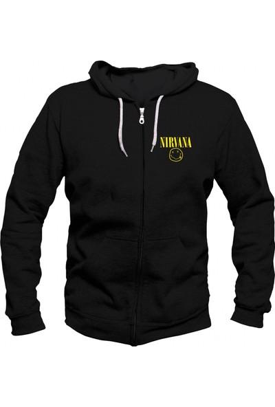 Vectorwear Nirvana Fermuarlı Kapuşonlu Unisex Sweatshirt
