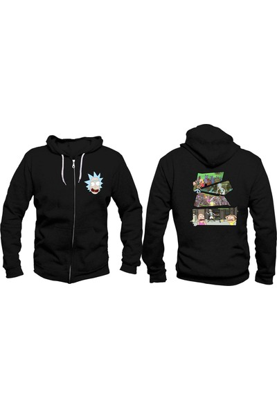 Vectorwear Rick And Morty Fermuarlı Unisex Sweatshirt
