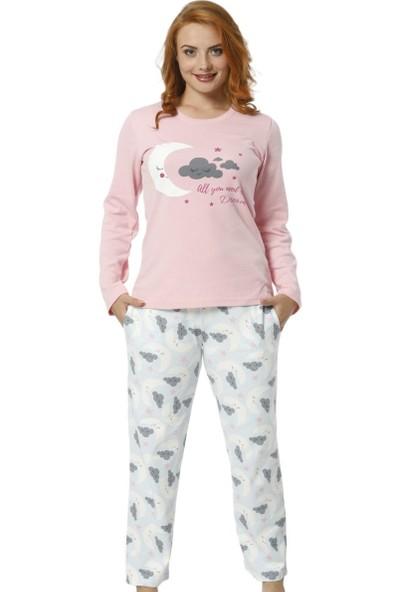 Pijamaevi Bulut Desenli Desenli Uzun Kollu Kadın Pijama Takımı
