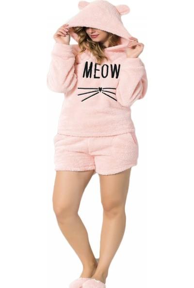 Pijamaevi Meow Desenli Şortlu Tam Peluş Pijama Takımı