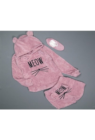 Pijamaevi Pudra Meow Desenli Şortlu Tam Peluş Pijama Takımı