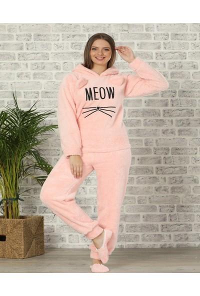 Pijamaevi Meow Desenli Tam Peluş Pijama Takımı