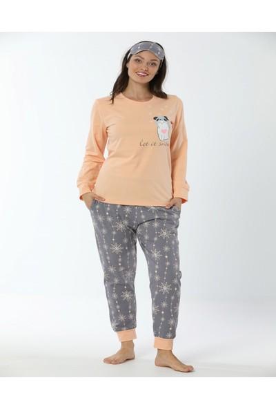 Pijamaevi Let it Snow Desenli Uzun Kollu Manşetli Kadın Pijama Takımı