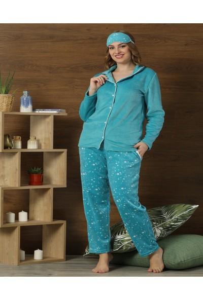 Pijamaevi Mavi Yıldız Desenli Kadın Önden Düğmeli Yumoş Peluş Pijama Takımı