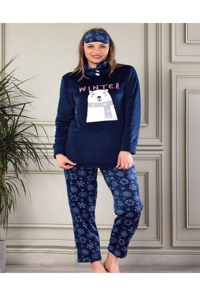 Pijamaevi Winter Bear Desenli Boğazlı Kadın Yumoş Peluş Pijama Takımı