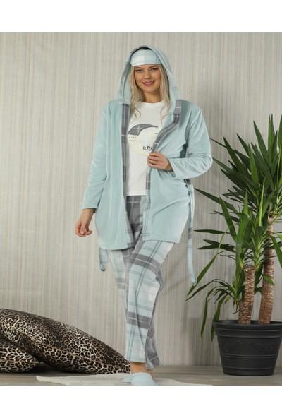 Pijamaevi Ay Desenli Sabahlıklı Peluş Pijama Takımı