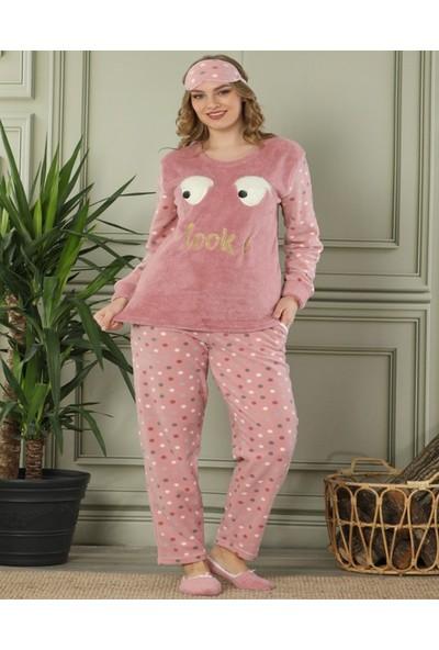 Pijamaevi Pudra Look Desenli Kadın Peluş Pijama Takımı