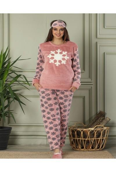 Pijamaevi Pudra Kartanesi Desenli Kadın Peluş Pijama Takımı