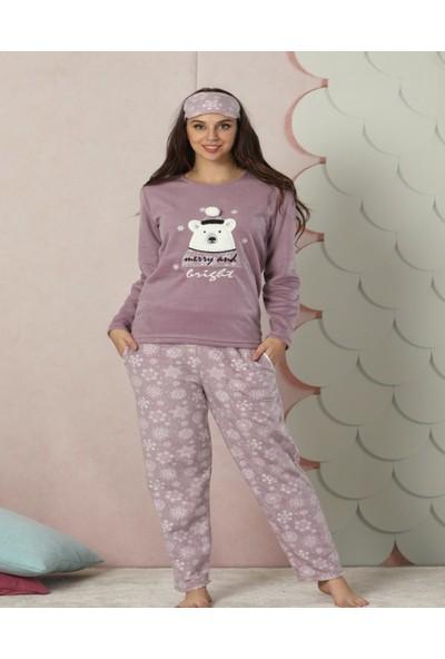 Pijamaevi Gri Ponpon Bear Desenli Kadın Yumoş Peluş Pijama Takımı