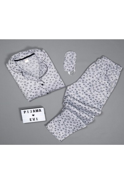 Pijamaevi Gri Kalp Desenli Kadın Önden Düğmeli Yumoş Peluş Pijama Takımı