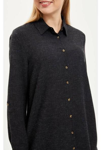 Defacto Yüksek Manşetli Tunik Gömlek