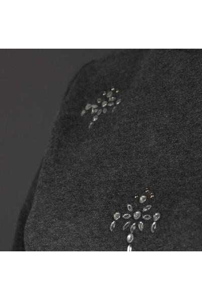 Duca Blanca 1626 Taşlı Yarasa Kol Sweatshirt