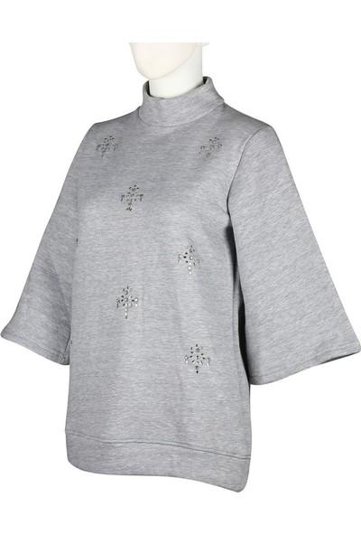 Duca Blanca 1626 Taşlı Yarasa Kol Sweatshirt Gri